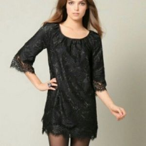 Anthropologie black lace shift dress